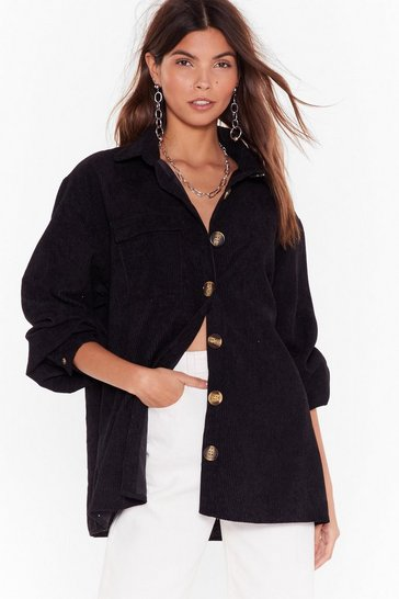 Womens Black Don't Texture Back Oversized Corduroy Shirt