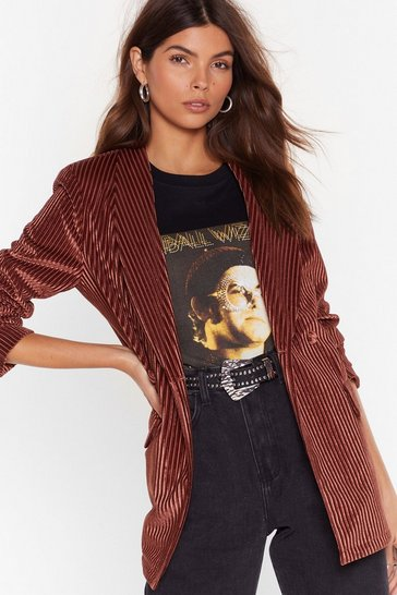 Womens Brown Nasty Says Relax Velvet Striped Blazer