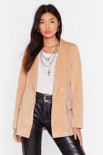 Womens Nude Nasty Says Relax Velvet Striped Blazer