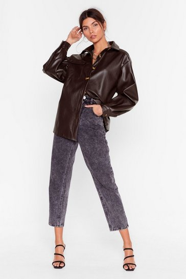 Chocolate Faux Leather a Dull Moment Relaxed Shirt