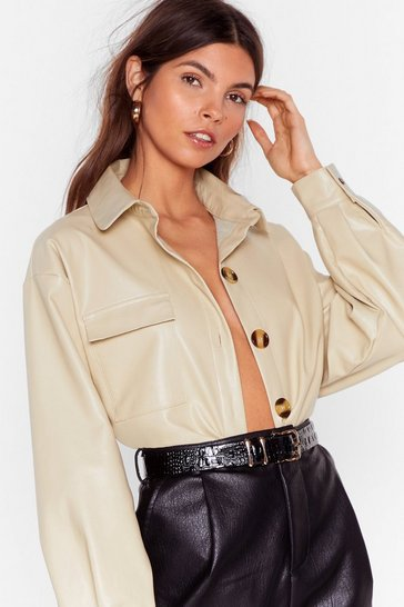 Cream Faux Leather a Dull Moment Relaxed Shirt