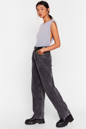 Black Dru Long Wide-Leg Jeans