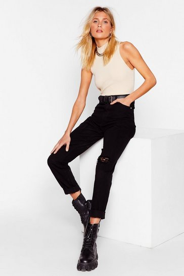 Black Ripped Knee Ankle Grazer Mom Jeans