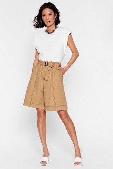 Oatmeal Win Win Stitch-uation High-Waisted Belted Shorts