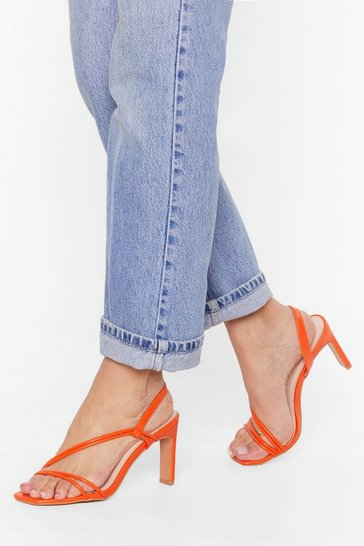 Orange We're Strappy Together Faux Leather Heels