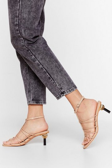 Beige On the Ball Faux Leather Strappy Heels