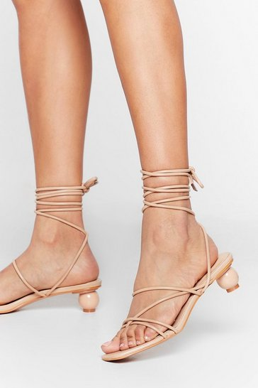 Beige You've Got Balls Babe Faux Leather Strappy Heels