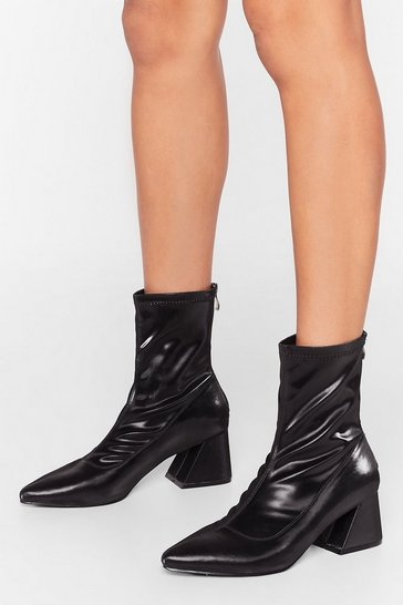 Black Find the Right Angle Faux Leather Sock Boots