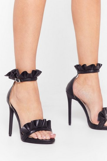 Black Back on Your Feet Faux Leather Ruffle Heels