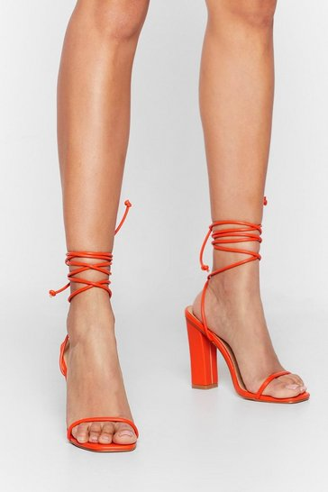 Orange Highly Strung Lace-Up Tie Heels