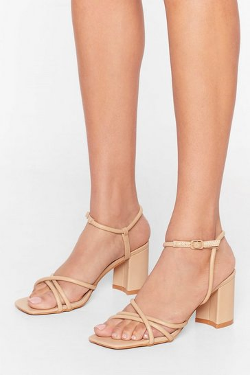 Sand Oh Toe You Don't Faux Leather Strappy Heels
