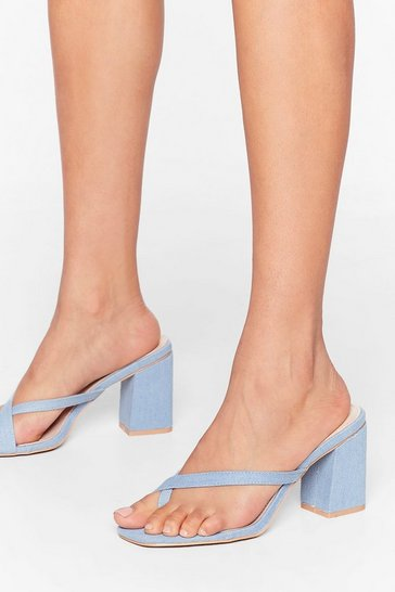 Blue Open Toe Anything Denim Heeled Mules