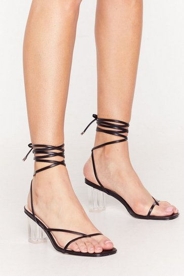 Black Up Toe No Good Strappy Clear Heels