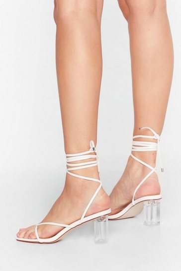White Up Toe No Good Strappy Clear Heels