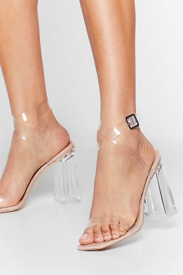 Nude Let's Be Clear Patent Faux Leather Heels