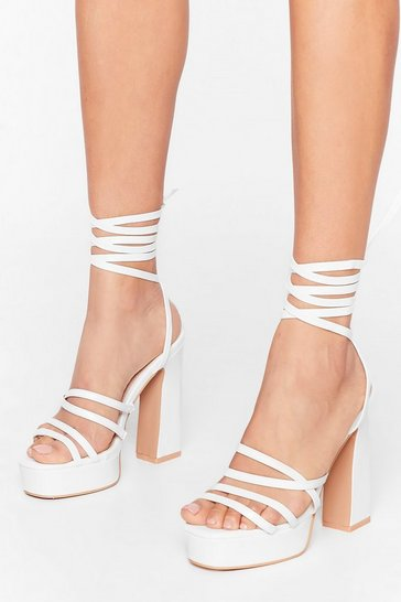 White Up to Something Faux Leather Platform Heels