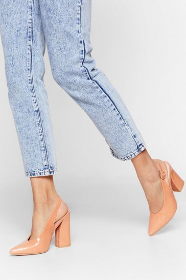 Nude Slingback for Good Faux Leather Croc Heels