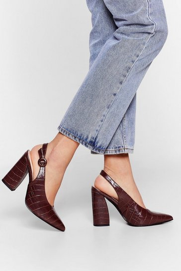 Chocolate Slingback for Good Faux Leather Croc Heels