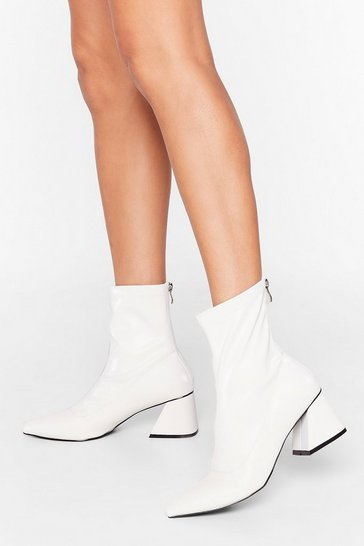 White Find the Right Angle Faux Leather Sock Boots