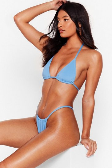 Blue Recycled Triangle High Leg Bikini Set