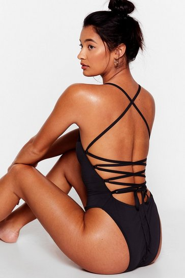 Black Strappy Back High Leg Swimsuit