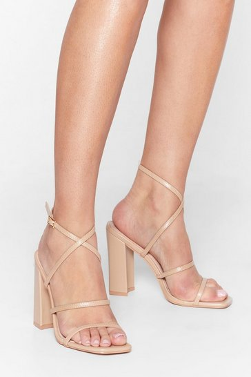 Nude Faux Leather Strappy Heels with Ankle Strap