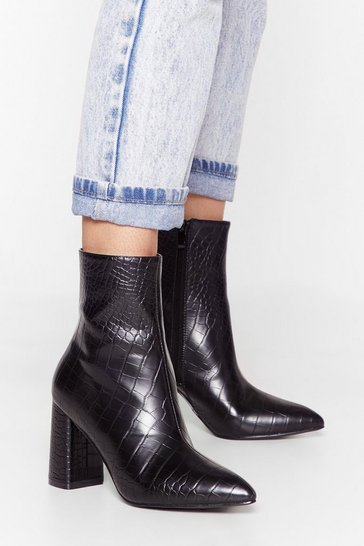 Black Get Toe the Point Faux Leather Croc Boots
