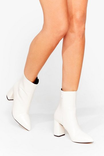 White Croc Block Heel Pointed Boots