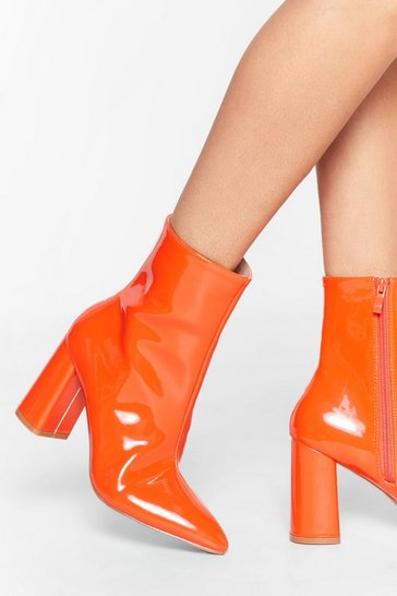 Orange Hey Sole Sister Faux Leather Patent Boots