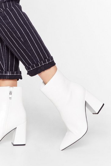 White We Get Your Point Faux Leather Heeled Boots