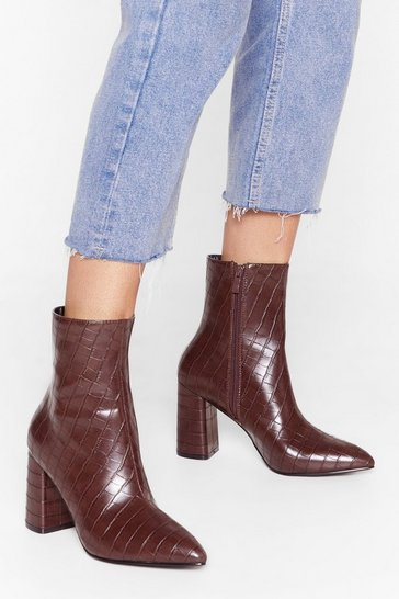 Chocolate Hey Sole Sister Faux Leather Croc Boots