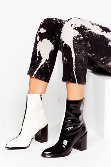 Black Faux Leather Two Tone Heeled Boots