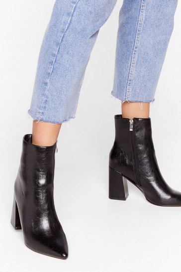 Black We Get Your Point Faux Leather Heeled Boots