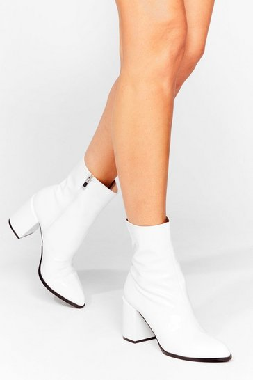 White Patent Heeled Ankle Boots