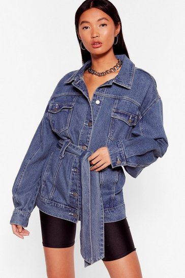 Mid blue Stitch It to Me Belted Denim Jacket