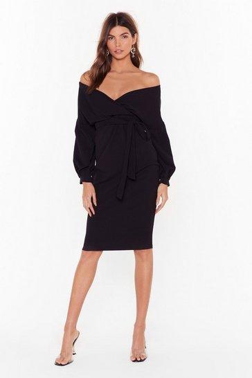 Black Balloon Sleeve Midi Dress with V-Neckline