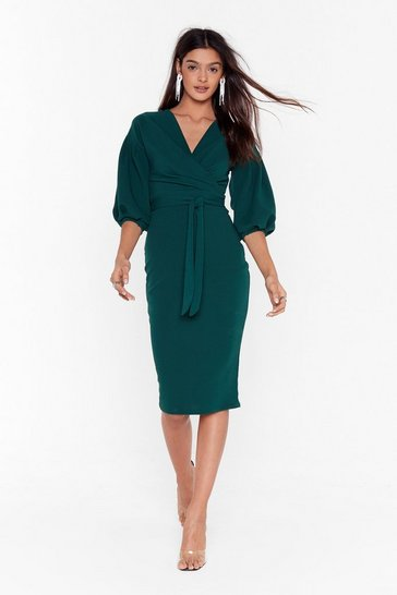 Emerald Balloon Sleeve Midi Dress with V-Neckline