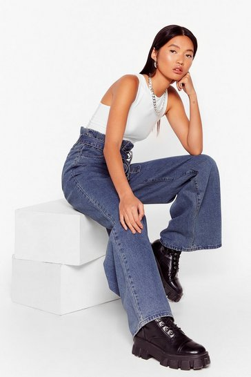 Mid blue Get This Down On Paperbag Belted Wide-Leg Jeans