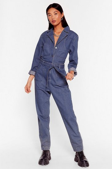 Mid blue Seams Good to Me Belted Denim Boilersuit