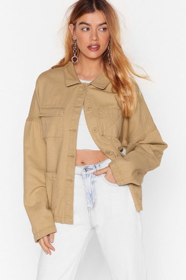 Tobacco Trucker Jacket with Long Sleeves