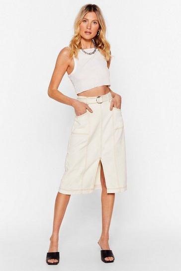 Ecru Wash Done is Done Denim Midi Skirt