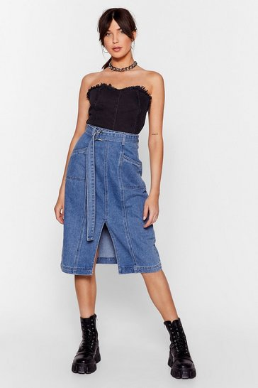 Vintage blue Wash Done is Done Denim Midi Skirt