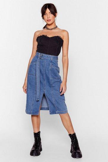 Vintage blue Wash Done is Done Denim Midi Skirt