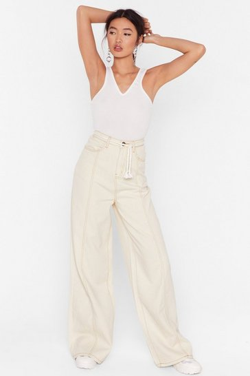 Ecru Wide Leg Jean With Rope Belt