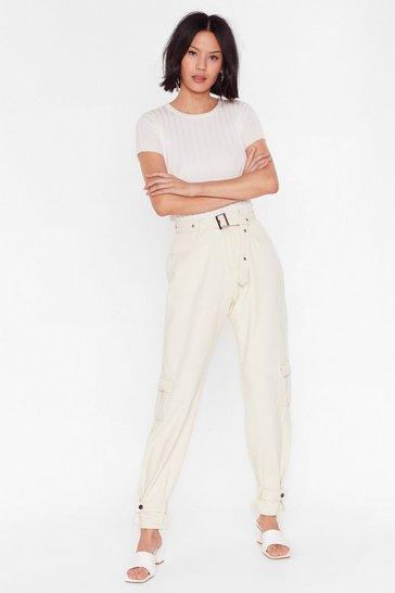 Ecru Waist Not Utility Belted Jeans