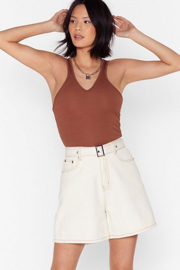 Ecru Watch Stitch Space Longline Denim Shorts