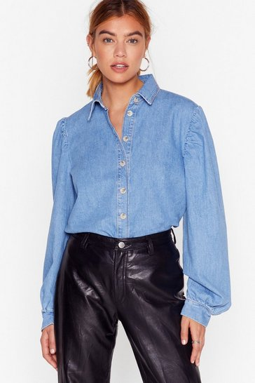 Vintage blue Diamond in the Puff Sleeve Denim Blouse