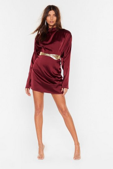 Burgundy In a Ruche Satin Mini Skirt