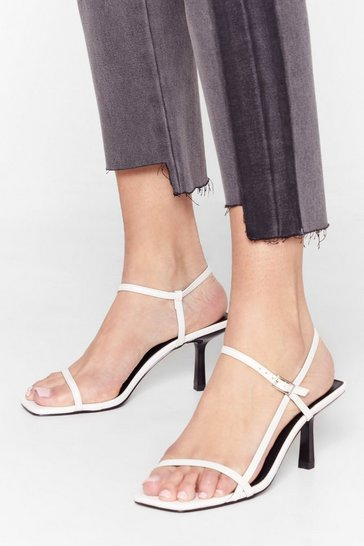 White Low Me Away Faux Leather Strappy Kitten Heels
