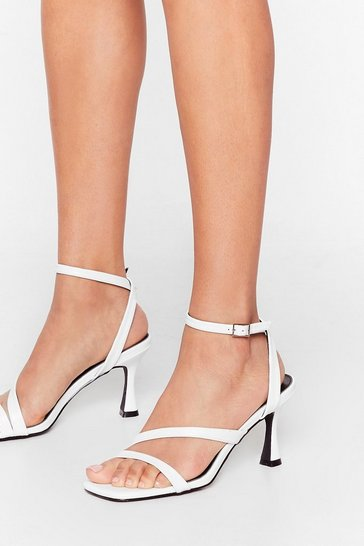 White Almost Square Strappy Louis Heels